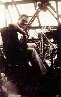Colonel James Rike Sitting in the cockpit of a WWII CG-4A Glider, 1944