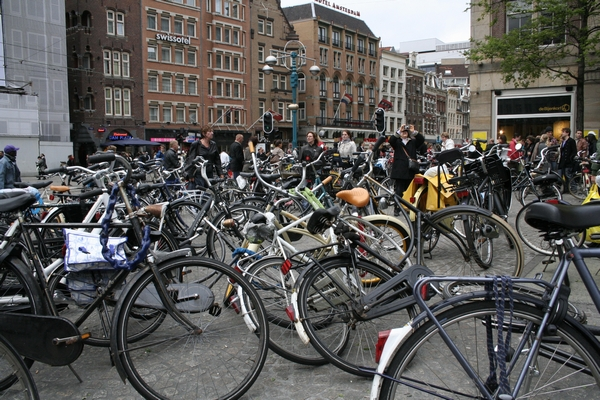 Bikes on the Damplein in Amsterdam