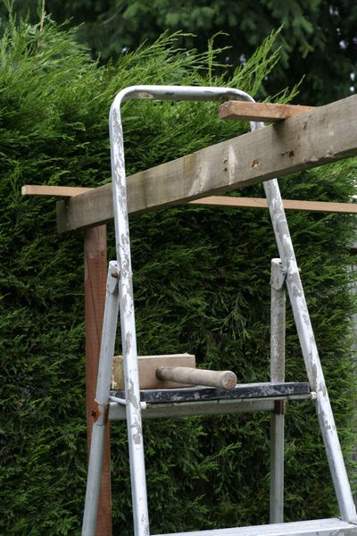 DIY disaster with ladder and gazebo