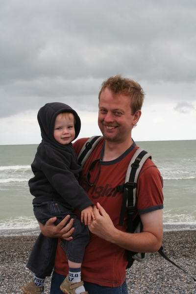 Wolf and daddy on a very windy beech