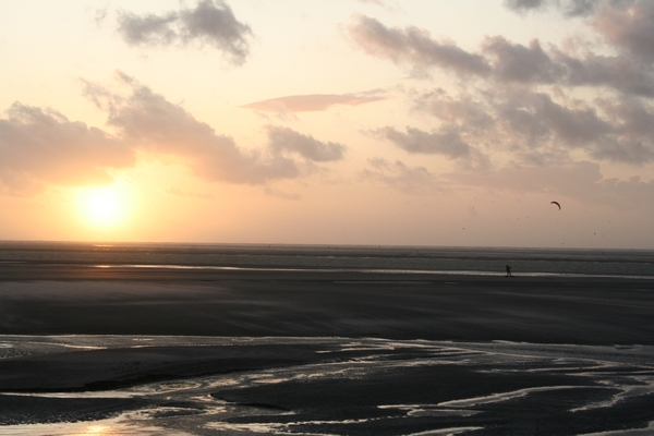 Sun setting over the sea at La Molliere in Picardie (France)