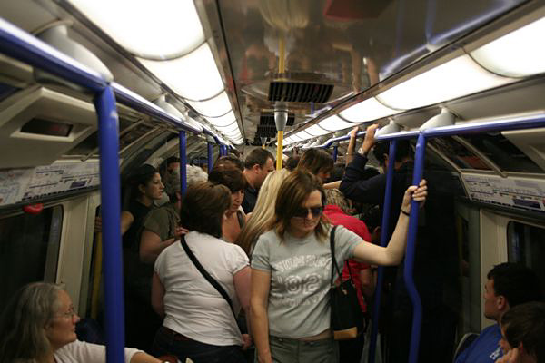 London - crowded Underground carriage