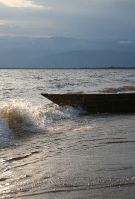 A 'pirogue' on the beech of Lake Tanganyika