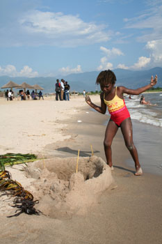 Sand castle on the beach of lake Tanganyika