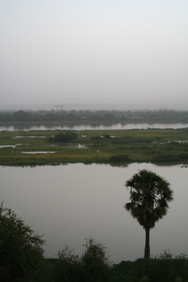 Fog descends over the Niger river in the evening