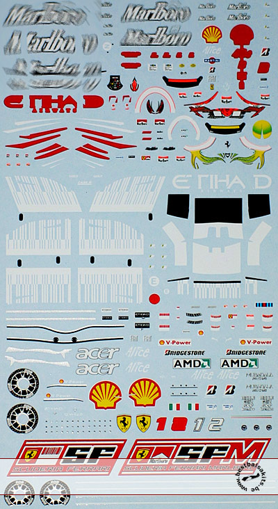 ARTEFICE 1/43 1/43 FULL SPONSOR FERRARI F2008 DECAL