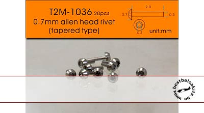 T2M NA 0.7mm TAPERED ALLEN HEAD ALU 20pc