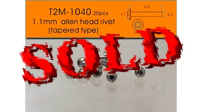 T2M NA 1.1mm TAPERED ALLEN HEAD ALU 20pc