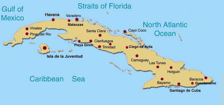 Casa Particular In Cuba By Province - Major cities map of cuba