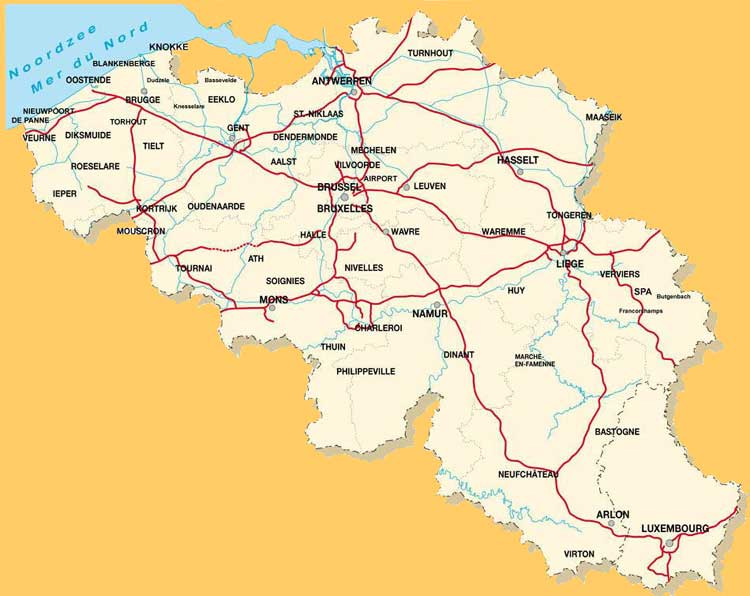 TOURING BELGIUM TOURISME EN BELGIQUE – Train Map of Belgium