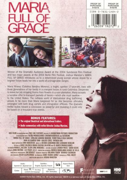 maria full of grace and colombian Maria, full are you of grace) is a joint colombian-american film, written and directed by joshua marston, who won the independent spirit award for best first screenplay maría álvarez is a 17-year-old colombian girl (played by catalina sandino moreno), works in sweat shop-like conditions at.